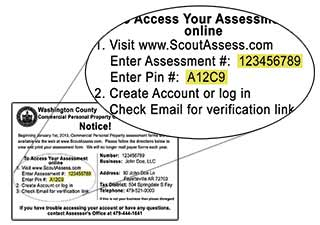 Assessment Number and PIN on postcard.